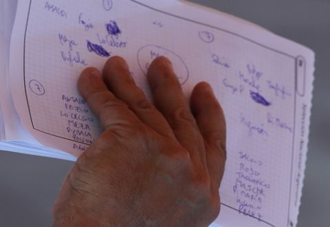 Jorge Sampaoli holds notes during a training session of Argentina at the 2018 soccer World Cup in Bronnitsy, Russia, Saturday, June 23, 2018. (AP Photo/Ricardo Mazalan)