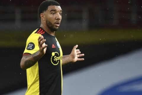 Watford's Troy Deeney during the English Premier League soccer match between Arsenal and Watford at Emirates Stadium in London, England, Sunday, July 26, 2020. (AP Photo/Rui Vieira)