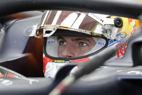 Red Bull driver Max Verstappen, of the Netherlands, looks on at the pits during the third free practice session for the Formula One Brazil Grand Prix at the Interlagos race track in Sao Paulo, Brazil, Saturday, Nov. 16, 2019. (AP Photo/Silvia Izquierdo)