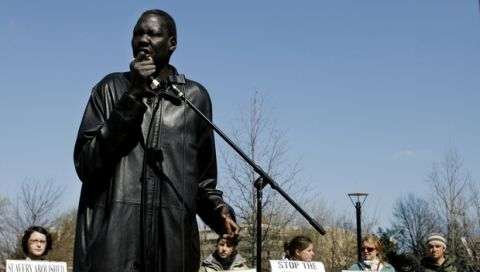 FILE - In this March 23, 2006 photo former NBA star Manute Bol speaks at a rally at the Independence Visitor Center as part of the Philadelphia stop of the Sudan Freedom Walk, a 300-mile march from New York to Washington.  Bol has died at a Virginia hospital, where he was being treated for severe kidney trouble and a painful skin condition according to an associate of Bol's. . Sudan Sunrise executive director Tom Prichard says in an e-mail that  Bol died Saturday, June 19, 2010 at the University of Virginia Hospital in Charlottesville. The 47-year-old Bol played 10 seasons in the NBA and later founded Sudan Sunrise, a humanitarian group based in Lenexa, Kan., that promotes reconciliation in Sudan.   (AP Photo/Matt Rourke)