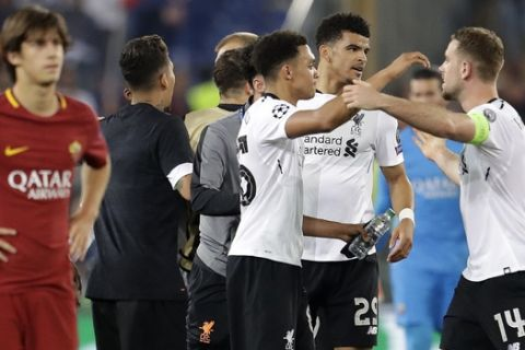 Liverpool players celebrate after the Champions League semifinal second leg soccer match between Roma and Liverpool at the Olympic Stadium in Rome, Wednesday, May 2, 2018. (AP Photo/Andrew Medichini)