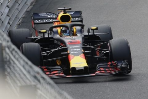 Red Bull driver Daniel Ricciardo of Australia steers his car during the second practice session in Monaco, Thursday, May 24, 2018. The Formula one race will be held on Sunday. (AP Photo/Luca Bruno)