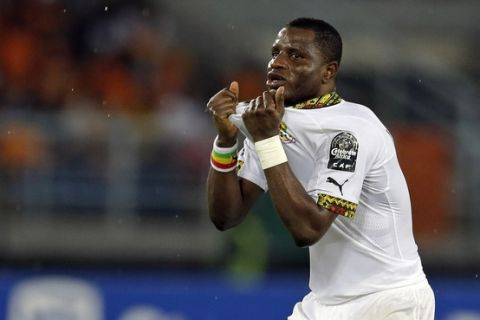 Ghana's Mubarak Wakaso reacts in disappointment after a missed chance during their African Cup of Nations final soccer match against Ivory Coast in Bata, Equatorial Guinea, Sunday, Feb. 8, 2015. (AP Photo/Themba Hadebe)
