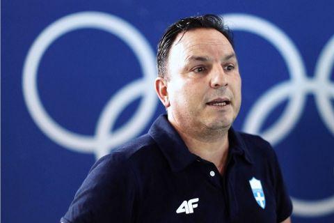 Ο Θοδωρής Βλάχος παραχωρεί δηλώσεις στην Πηνελόπη Γκιώνη μετά τον προημιτελικό των Ολυμπιακών Αγώνων
