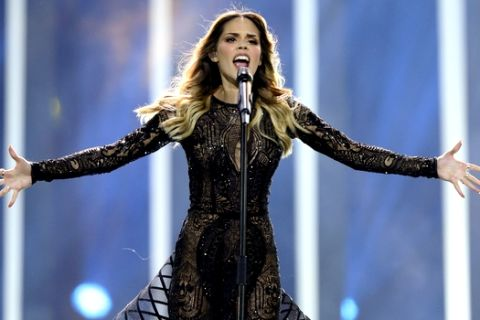 Franka from Croatia performs the song 'Crazy' in Lisbon, Portugal, Tuesday, May 8, 2018 during the first semi-final for the Eurovision Song Contest. The Eurovision Song Contest semi-finals take place in Lisbon on Tuesday, May 8 and Thursday, May 10 with the the grand final taking place on Saturday May 12, 2018. (AP Photo/Armando Franca)