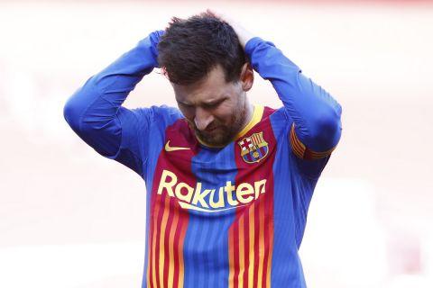 Ο Λιονέλ Μέσι απογοητευμένος σε ματς ισπανικού πρωταθλήματος στο Καμπ Νόου κόντρα στην Ατλέτικο Μαδρίτης
