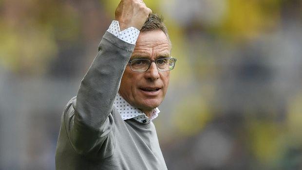 Leipzig's head coach Ralf Rangnick reacts during the German Bundesliga soccer match between Borussia Dortmund and RB Leipzig in Dortmund, Germany, Sunday, Aug. 26, 2018. (AP Photo/Martin Meissner)