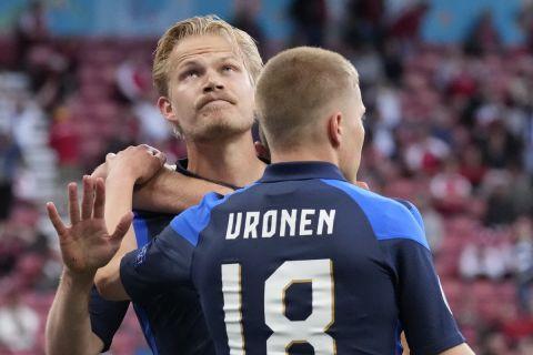 Ο Πογιάνπαλο δεν πανηγυρίζει το γκολ που πέτυχε στο Δανία - Φινλανδία