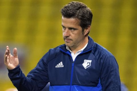Watford manager Marco Silva gestures during the League Cup second round soccer match against Bristol City at Vicarage Road, Watford, England, Tuesday Aug. 22, 2017. (Dominic Lipinski/PA via AP)
