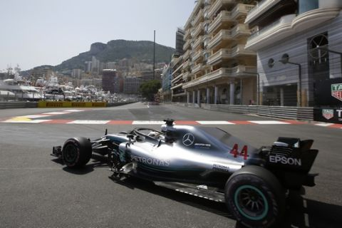 Britain driver Lewis Hamilton steers his Mercedes during the qualifying session at the Monaco racetrack, in Monaco, Saturday, May 26, 2018. The Formula one race will be held on Sunday. (AP Photo/Luca Bruno)