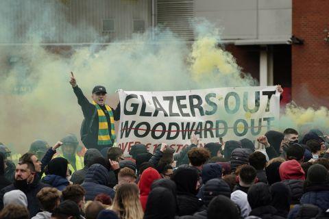 Διαδήλωση των οπαδών της Γιουνάιτεντ κατά των Γκλέιζερς