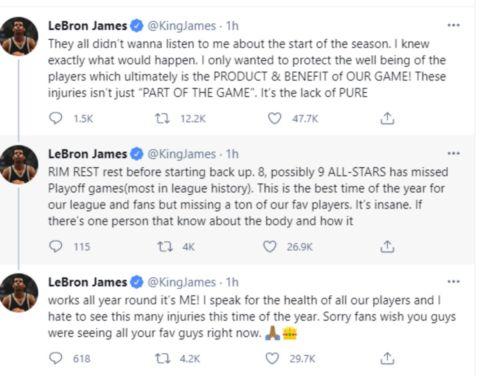 Tο post του ΛεΜπρόν Τζέιμς στο Twitter