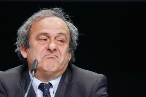 FILE - In This May 28, 2015 file photo UEFA president Michel Platini grimaces during a press conference following a meeting of the UEFA board ahead of the FIFA congress in a hotel in Zurich, Switzerland. The Court of Arbitration for Sport, CAS, in Lausanne, Switzerland, plans to announce its verdict on Monday, May 9, 2016 in Michel Platini's appeal on his six-year ban from football.  (AP Photo/Michael Probst, file)