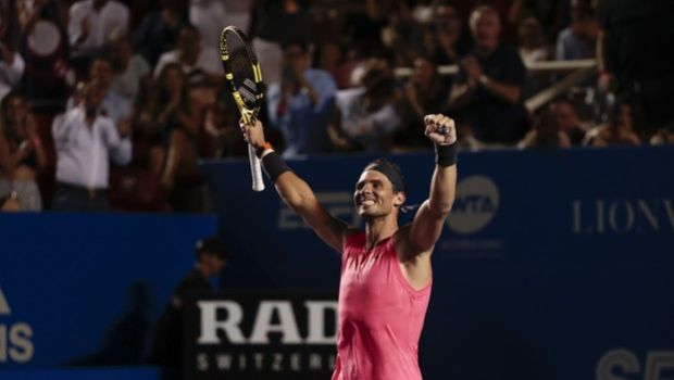 Spain's Rafael Nadal celebrates as he defeats Taylor Fritz of the U.S. in the men's final match at the Mexican Tennis Open in Acapulco, Mexico, Saturday, Feb. 29, 2020.(AP Photo/Rebecca Blackwell)
