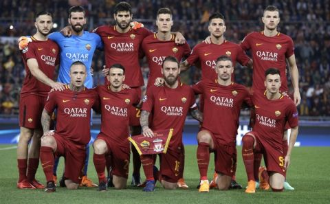 The Roma team pose for a team photograph ahead of the Champions League semifinal second leg soccer match between Roma and Liverpool at the Olympic Stadium in Rome, Wednesday, May 2, 2018. (AP Photo/Andrew Medichini)