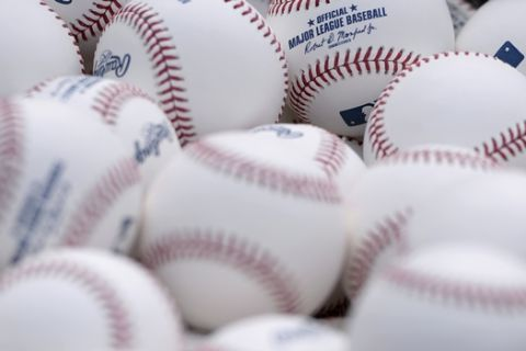 A detailed view of baseballs before the baseball game between the San Diego Padres and the Atlanta Braves Tuesday, June 5, 2018, in San Diego. (AP Photo/Orlando Ramirez)