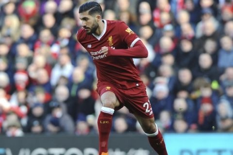 Liverpool's Emre Can during the English Premier League soccer match between Liverpool and West Ham United at Anfield in Liverpool, England, Saturday, Feb. 24, 2018. (AP Photo/Rui Vieira)