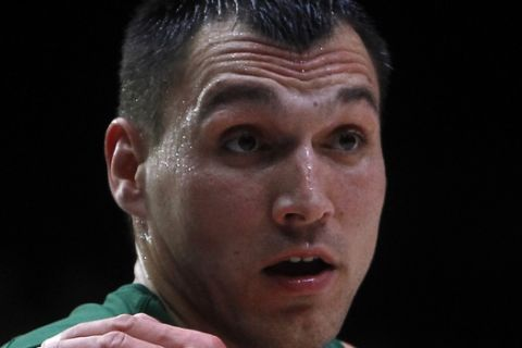 Lithuania's Jonas Maciulis gestures during their quarterfinal basketball match at the EuroBasket European Basketball Championships, between Italy  and Lithuania, on Wednesday, Sept. 16, 2015 in Lille, northern France. (AP Photo/Michel Spingler)