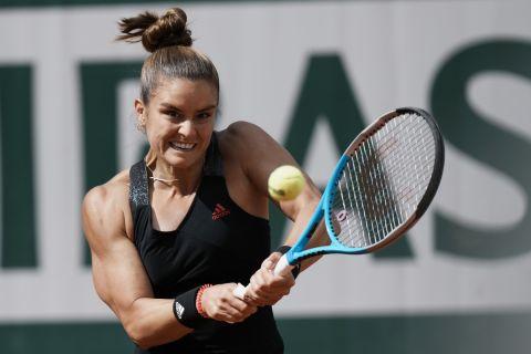 Η Μαρία Σάκκαρη σε φάση από την αναμέτρηση με την Κένιν για το Roland Garros | 7 Ιουνίου 2021