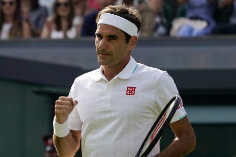 Ο Ρότζερ Φέντερερ από την αναμέτρηση με τον Ρισάρ Γκασκέ στο Wimbledon 2021   1 Ιουλίου 2021