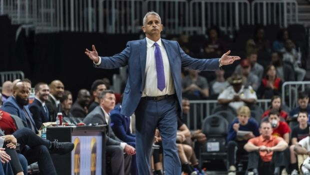 FILE - In this Feb. 23, 2019, file photo, Phoenix Suns head coach Igor Kokoskov reacts during the first half of an NBA basketball game against the Atlanta Hawks in Atlanta. The Suns say they have fired Kokoskov after one season. (AP Photo/Danny Karnik, File)
