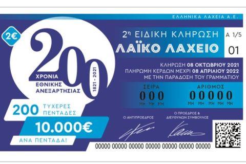 Αντίστροφη μέτρηση για τη 2η ειδική κλήρωση του Λαϊκού Λαχείου – Την Παρασκευή μοιράζει 10.000 ευρώ σε 200 τυχερούς