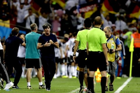 Germany head coach Joachim Loew reacts after Toni Kroos scored his side's second goal during the group F match between Germany and Sweden at the 2018 soccer World Cup in the Fisht Stadium in Sochi, Russia, Saturday, June 23, 2018. (AP Photo/Michael Probst)