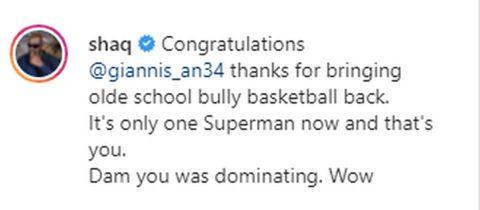 Το Post του Ο'Νιλ στο Instagram για τον Γιάννη Αντετοκούνμπο