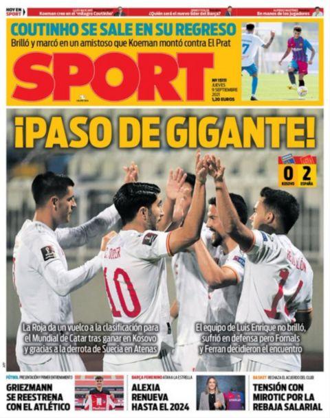 Το πρωτοσέλιδο της Sport (9/9) μετά τη νίκη της Εθνικής Ελλάδας επί της Σουηδίας στα προκριματικά του Μουντιάλ 2022