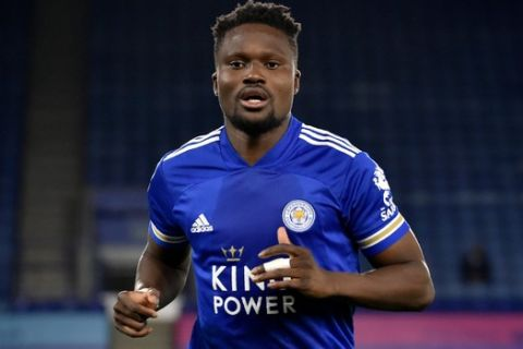 Leicester's Daniel Amartey runs during the English League Cup 3rd round soccer match between Leicester City and Arsenal at the King Power Stadium in Leicester, England, Wednesday, Sept. 23, 2020. (AP Photo/Rui Vieira, Pool)