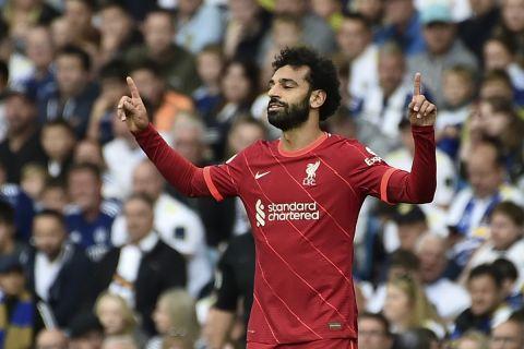 Ο Μοχάμεντ Σαλάχ πανηγυρίζει γκολ της Λίβερπουλ κόντρα στην Λιντς | 12 Σεπτεμβρίου 2021