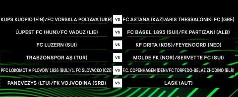 Europa Conference League: Ο ΠΑΟΚ με Ντουντελάνζ – Μποέμιαν, η ΑΕΚ με Έλφσμποργκ – Μιλσάμι και ο Άρης με Κουόπιο – Πολτάβα
