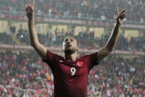 Turkey's Cenk Tosun celebrates his goal against Sweden during a friendly international soccer match, in Antalya, Turkey, Thursday, March 24, 2016. (AP Photo/Lefteris Pitarakis)