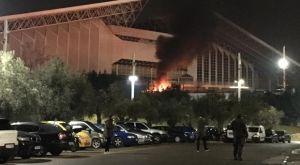 Φωτιά έξω από το κλειστό του μπάσκετ στο ΟΑΚΑ