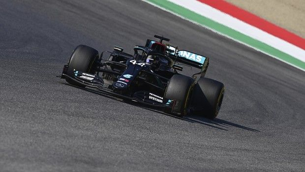 Mercedes driver Lewis Hamilton of Britain steers his car during Formula One Grand Prix of Tuscany, at the Mugello circuit in Scarperia, Italy, Sunday, Sept. 13, 2020. (Miguel Medina, Pool via AP)