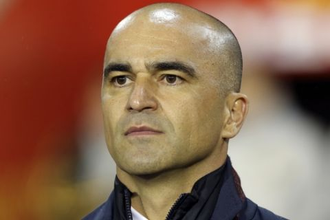 Belgium's coach Roberto Martinez before a friendly soccer match between Belgium and Saudi Arabia at King Baudouin stadium in Brussels on Tuesday, March 27, 2018. (AP Photo/Francois Walschaerts)