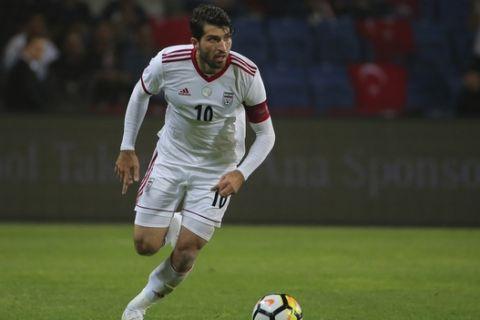 Iran's Karim Ansarifard during a friendly soccer match between Turkey and Iran, in Istanbul, Monday, May 28, 2018. (AP Photo)