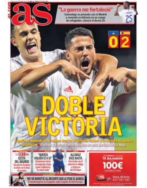 Το πρωτοσέλιδο της As (9/9) μετά τη νίκη της Εθνικής Ελλάδας επί της Σουηδίας στα προκριματικά του Μουντιάλ 2022