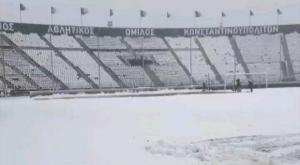 ΠΑΟΚ: Το γήπεδο της Τούμπας κάτασπρο από το χιόνι
