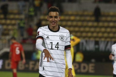 Ο Τζαμάλ Μουσιάλα πανηγυρίζει το πρώτο του γκολ με την εθνική Γερμανίας κόντρα στην Βόρεια Μακεδονία   11 Οκτωβρίου 2021