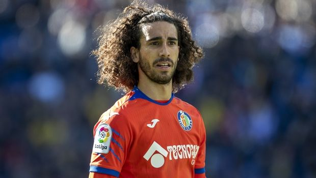 Getafe's Marc Cucurella during the Spanish La Liga soccer match between Espanyol and Getafe at the RCDE Stadium in Barcelona, Spain, Sunday Nov. 24, 2019. (AP Photo/Joan Monfort)