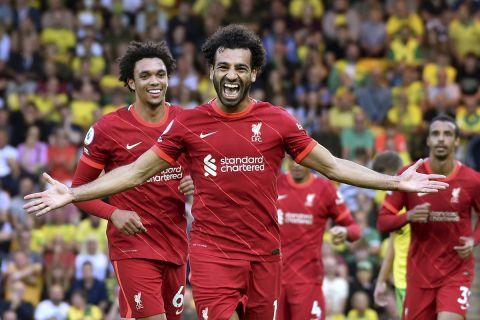 Ο Σαλάχ πανηγυρίζει γκολ με τη Λίβερπουλ στην Premier League κόντρα στη Νόριτς