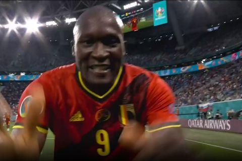 """Euro 2020, Βέλγιο - Ρωσία: Το """"σε αγαπώ Κρις"""" του Λουκάκου στον Έρικσεν μετά το γκολ του"""