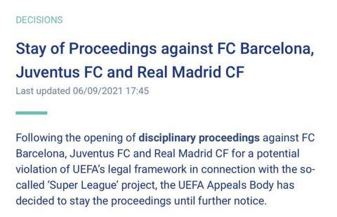 European Super League: Η UEFA σταμάτησε την πειθαρχική διαδικασία κατά Ρεάλ, Μπαρτσελόνα, Γιουβέντους