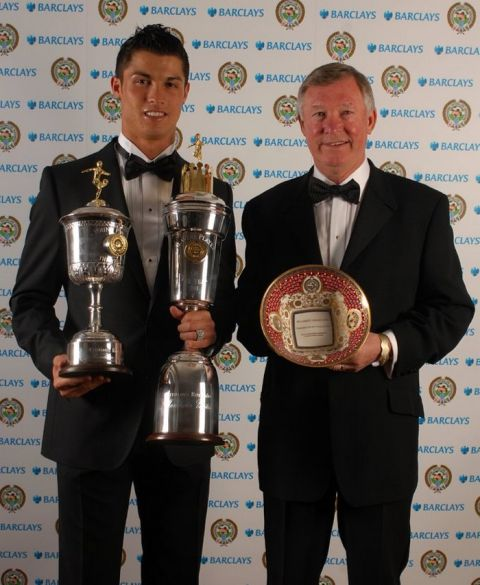 Manchester United's Cristiano Ronaldo with both the PFA Young Player of the Year award and the PFA Player of the Year, and Manchester United manager Sir Alex Ferguson with his PFA Special Merit Award