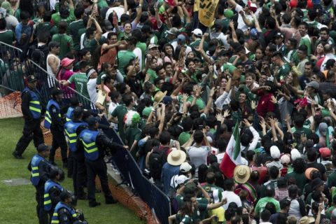 Fans cheer as a dog is raised into the air during the celebration of Mexico's 2018 World Cup win over Germany at the Angel of Independence in Mexico City, Sunday, June 17, 2018. Mexico won it's first match against Germany 1-0. (AP Photo/Anthony Vazquez)