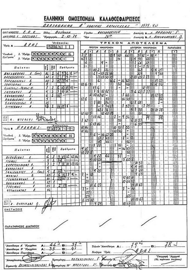 Το φύλλο αγώνα από τον αγώνα Άρης - Ηρακλής που έκανε το ντεμπούτο του ο Νίκος Γκάλης