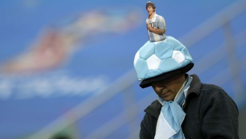 A supporter of Argentina arrives for the group D match between Argentina and Croatia at the 2018 soccer World Cup in Nizhny Novgorod Stadium in Nizhny Novgorod, Russia, Thursday, June 21, 2018. (AP Photo/Petr David Josek)