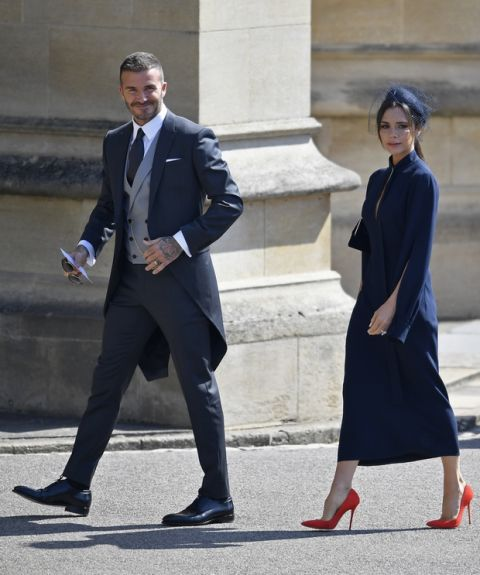David and Victoria Beckham arrive for the wedding ceremony of Prince Harry and Meghan Markle at St. George's Chapel in Windsor Castle in Windsor, near London, England, Saturday, May 19, 2018. (Toby Melville/pool photo via AP)