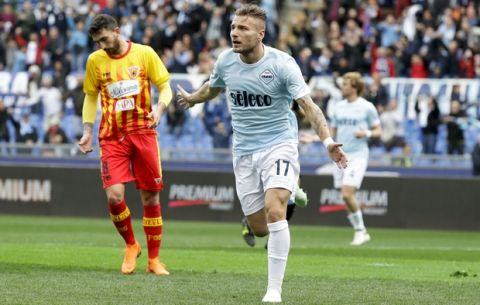 Lazio's Ciro Immobile celebrates after scoring during a Serie A soccer match between Lazio and Benevento, at Rome's Olympic Stadium, Saturday, March 31, 2018. (AP Photo/Andrew Medichini)